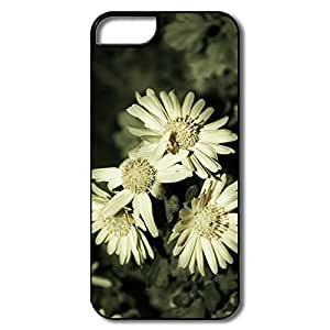 IPhone 5 5S Cover, Flowers Case For IPhone 5/5S - White/black Hard Plastic