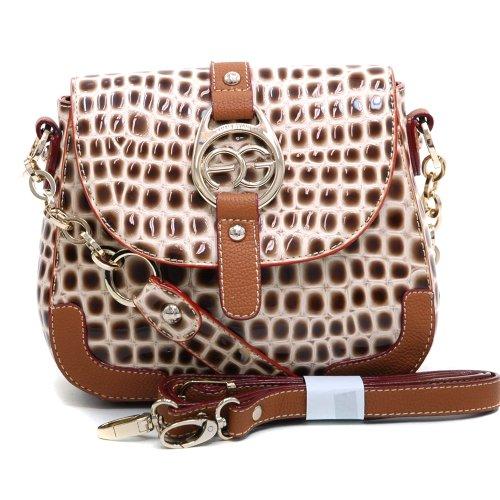 Dasein Fashion Women's Petite Croco Embossed Baguette Shoulder Bag Handbag Clutch Purse w/ Chained-In Strap & Bonus Strap -Beige/Brown