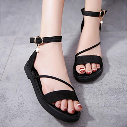 Roman Toe Summer Strap Ankle Peep Flat Shoes Gray Sandals Shoes Sandals Womens Fheaven a4RwqUO