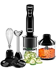 Chefman Immersion Blender & Electric Spiralizer/Vegetable Chopper, 6-IN-1 Food Prep Kit, Includes 3 Spiralizing Blade Attachments, Zoodle Maker; Grate, Ribbon, Spiral, Chop, Whisk and Puree, Black