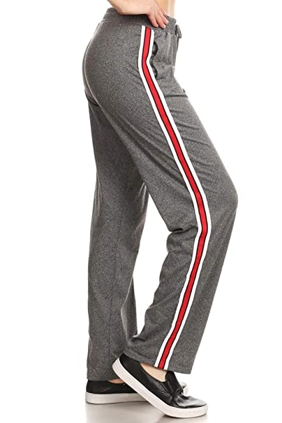 e5b0696ed5 ShoSho Womens Yoga Pants Side Striped Wide Leg Loose Sports Track Sweatpants  Grey/Red/