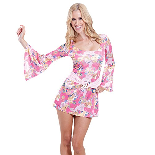 Adults 1960's Sexy 60s Chick Flower Hippy Fancy Dress Party Hippie Costume (Small 2-4) ()