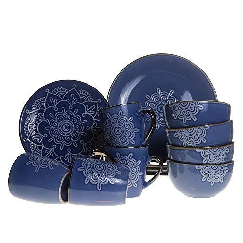 (Home Essentials 16 Piece Blue Medallion Dinnerware Set)