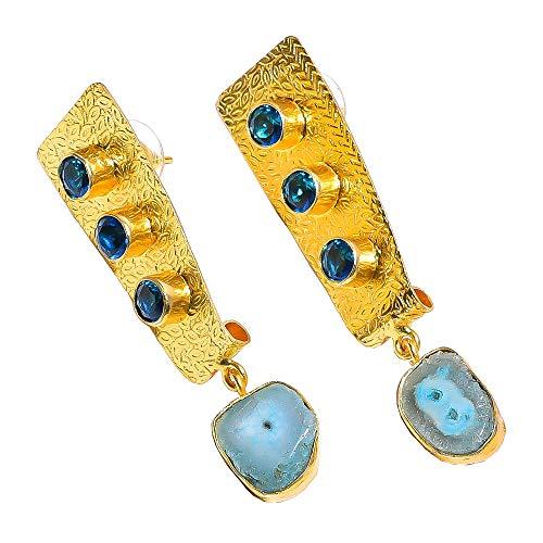 Solar Quartz Druzy, Blue Topaz Quartz Gemstone Dangle Earrings, Gold Plated Brass Handcrafted Women Jewelry BE652