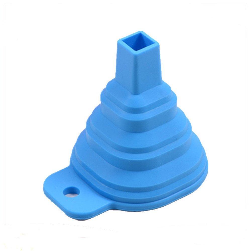 HJuyYuah Kitchen Home Mini Food Grade Silicone Folding Telescopic Funnel (Blue)