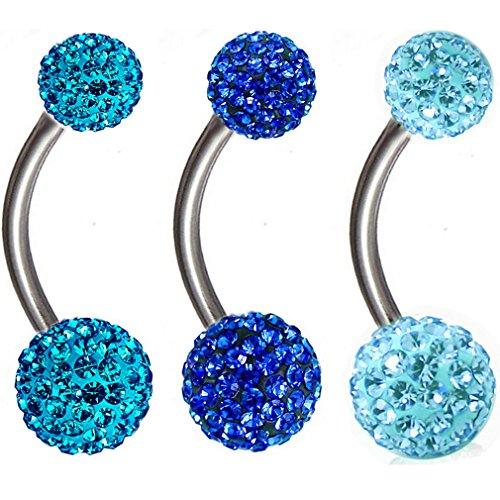 Thenice 3 Pcs 16g 1.2mm Full Crystal Ball Navel Ring Belly Button Body Piercing Ear Stud (Blue Lake Blue Zircon Navy blue) (Titanium Belly Button Rings 16g)