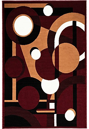 Rugs 4 Less Collection Abstract Contemporary Modern Accent Area Rug With Geometric Shapes in Burgundy Maroon black Brown and White Colors - Design R4L Moderno 14 Burgundy - Geometric Burgundy Rug Area Modern