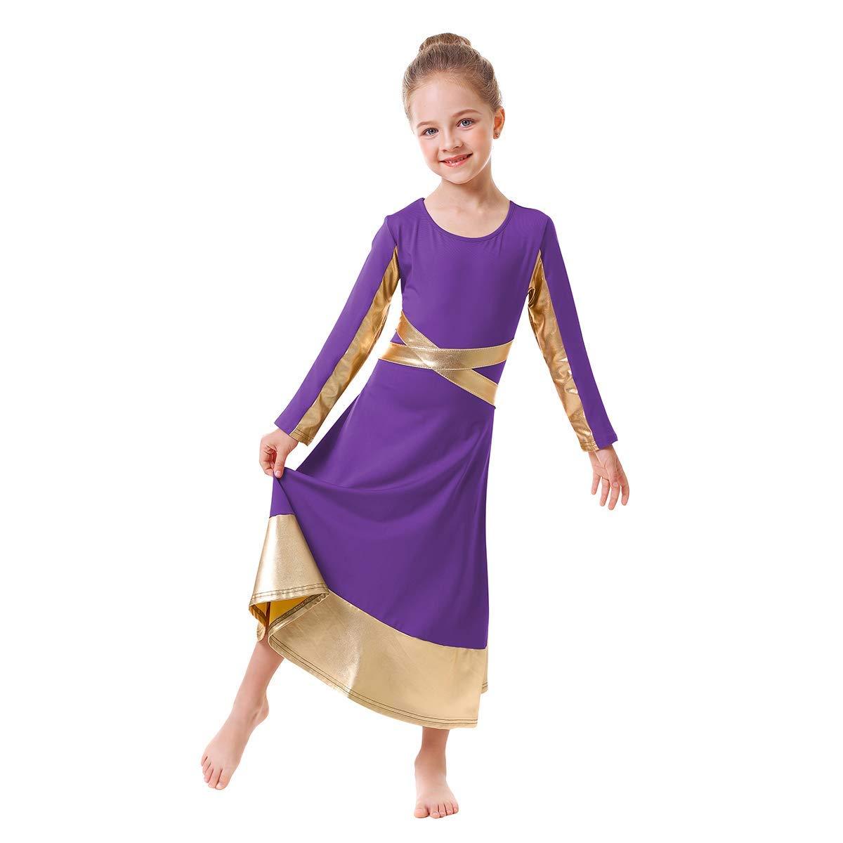 Kids Metallic Gold Cross Praise Dance Dress for Girls Liturgical Loose Fit Full Length Tunic Dancewear Worship Long Costume