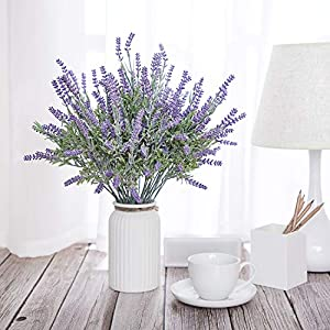 TEMCHY Artificial Lavender Plant with Silk Flowers Bouquet for Wedding Decor and Table Centerpieces, Indoor Outdoor Decoration - 8 Piece Bundle 2