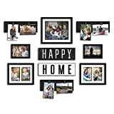 """10-piece """"Happy Home"""" Photo Frame Collection in Satin Black"""