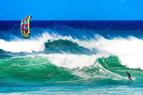 Kitesurf Extreme Sport Picture, Surf Wave Art, Kiteboard Ocean Print