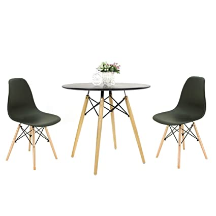Astonishing Joolihome Wooden Round Rectangular Dining Table And Set Of 2 Or 4Dining Chairs Eiffel Style Wooden For Office Lounge Dining Kitchen Yellow White Interior Design Ideas Oxytryabchikinfo