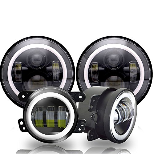 AUSI 7inch Jeep Daymaker LED Headlights with White DRL/Amber Turn Signal + 4 inch LED Fog Lights Passing Lamp with White DRL Halo Ring for Jeep Wrangler 97-2017 JK LJ Tj CJ 60W Black