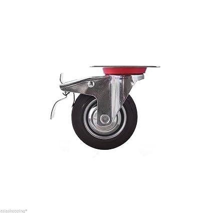 16 Ruedas de goma 100 mm industriales con placas giratorias y freno para carros