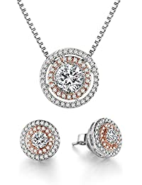 Round Shape Rose Gold Pendant Necklace Earrings Jewelry...
