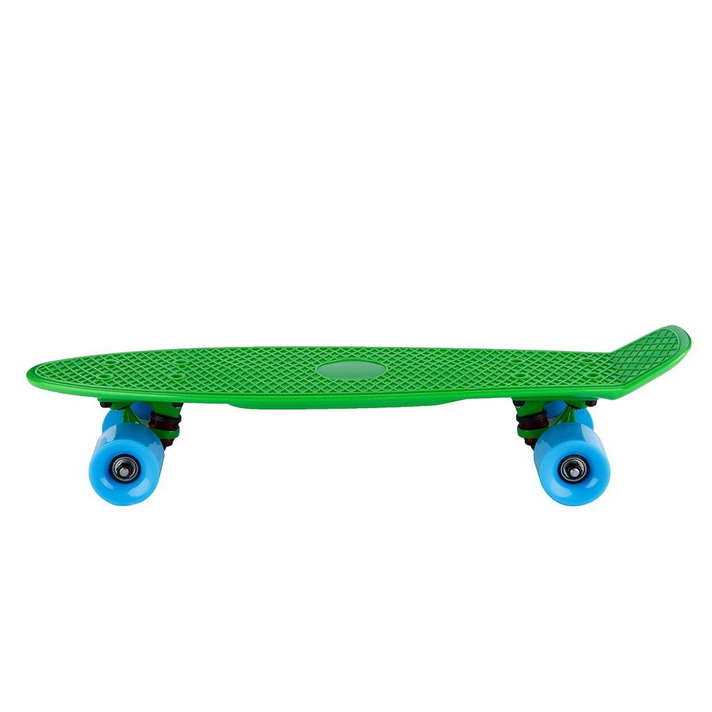 FLOUREON Skate-board Plastic Deck Board avec diffé rentes couleurs de Style Cruiser pour dé butant vé té ra enfants adolescents-Dimension 55 longueur 15cm hauteur-Charge MAX. 80KG(Vert)