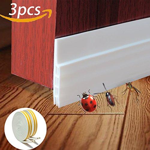 Soundproof Weather Stripping Door Draft Stopper Kit White,33Ft Self Adhesive Windows Weatherstrips & 39 Energy Efficient Door Under Seal Insect Proof Rubber Door Strips to Seal Door Crack
