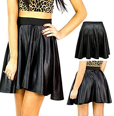 MA ONLINE Ladies Wet Look Shiny Mini Skater Skirt Womens PVC Faux Leather Flared Skirt US 4-22