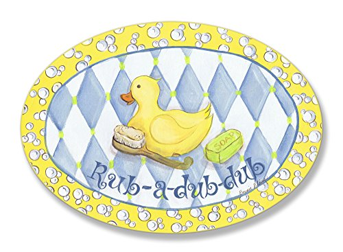 - The Kids Room by Stupell Rub-A-Dub-Dub Rubber Ducky Oval Wall Plaque, 10 x 0.5 x 15, Proudly Made in USA