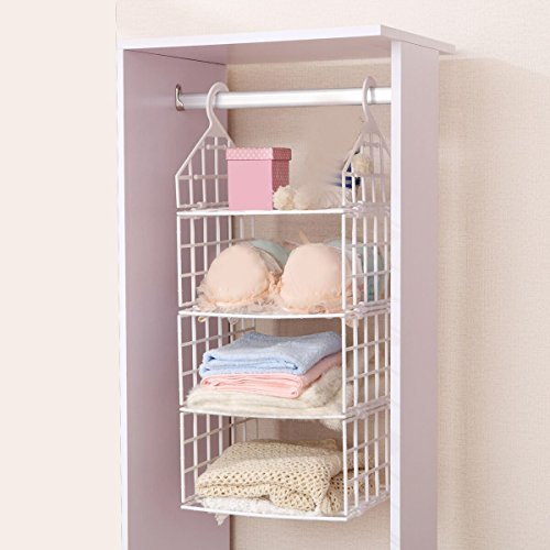 Terya Hanging Closet Organizer Plastic Hanging Accessory Shelf Organizer 3 Shelves (S)