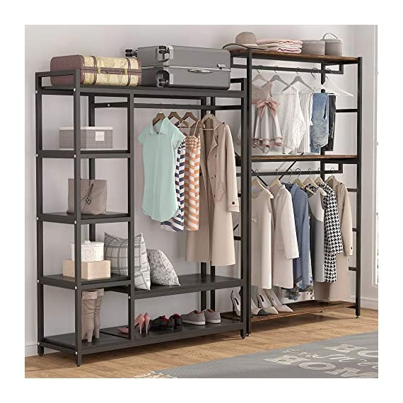 LITTLE TREE Free-Standing Closet Organizer,Heavy Duty Clothes Rack with 6 Shelves and Handing Bar, Large Closet Storage Stytem & Closet Garment Shelves,White - Incredible Weight Capacity : Heavy duty metal frame combine with thick particle board makes the it super stable and sturdy, no wobble and collapse. The Weight capacity is 350 lb. Ideal for being a long-term closet storage organizer. Large Storage Solution : 2 large shelves and 4 small ones ensure you plently of room to place clothes, accessries, shoes etc. The garment rods hold up 50 lb. For hanging your dress and suits. And put large box on the top for added storage. Freestanding & Portable Closet: The portable storage organizer perfect for clothes and shoes in cramped closets. Making small spaces more functional. Simple and chic design adds instant storage to any room. Easily transport your freestanding wardrobe. - hall-trees, entryway-furniture-decor, entryway-laundry-room - 51cxMBfA0JL. SS570  -