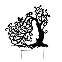 Tree with Squirrels Silhouette Garden Stake - 52 W x 61 H X D