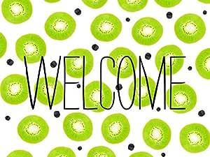 Modern bright green watercolor kiwi fruit pattern doormat