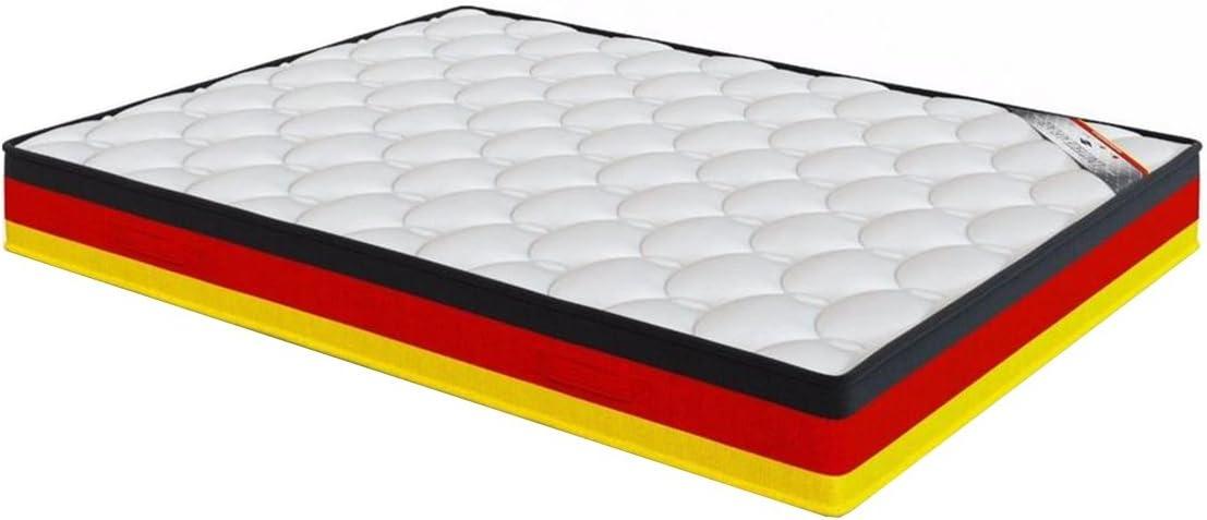 El Almacen del Colchón - Colchón VISCOGRAFENO Carbono Modelo Alemania, 80 x 200 x 26cm, Máxima Adaptabilidad - Todas Las Medidas, Negro, Rojo y Amarillo