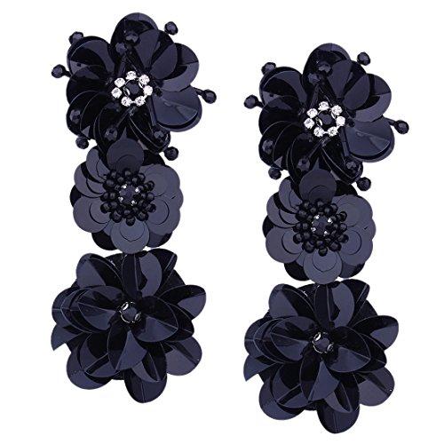 Black Earring Handmade (Szolno Fashion Handmade Long Earrings Flowers Sequins Stud Ear)