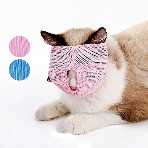QBLLEV Cat Muzzles Grooming Tools,Breathable Adjustable Mask, Small Large Pet SuppliesAnti Bite Anti Meow By