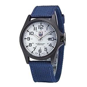 Relojes Hombre Calendario con 2 Vueltas Escala de números arábigos, Correa de Lona Relojes de Pulsera Casual, Azul