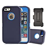 iPhone SE Case, Harsel Defender Heavy Duty Rugged Armor Scratch Resistant Full Body Protective Military w' Belt Clip Built-in Screen Protector Case Cover for iPhone SE / iPhone 5s - Navy / Blue