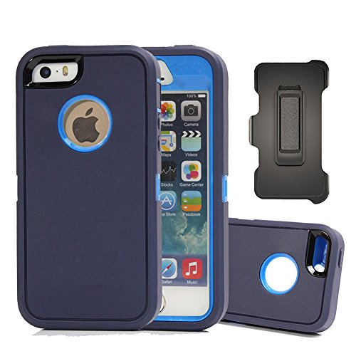 Blue Cover Protector Case (iPhone SE Case, Harsel Defender Heavy Duty Rugged Armor Scratch Resistant Full Body Protective Military w' Belt Clip Built-in Screen Protector Case Cover for iPhone SE / iPhone 5s - Navy / Blue)