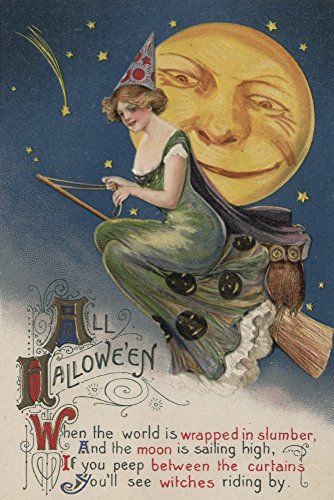 Halloween Greeting - Witch in Flight - Vintage Holiday Art (9x12 Art Print, Wall Decor Travel Poster)