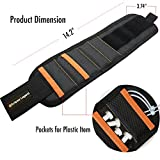 Eclipse Legend Magnetic Wristband with 15 Strong Magnet Lightweight Sweat Proof Adjustable Strap Magnetic Wristbands for Holding Screws Nail Drill Bits Tool Gift for Men DIY Handyman Black