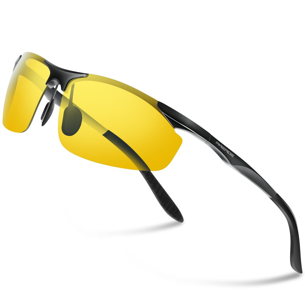 PAERDE Gafas de sol deportivas polarizadas para hombre con ultraligero y marco de metal irrompible PA03 8179 (Plata/Vision nocturna)