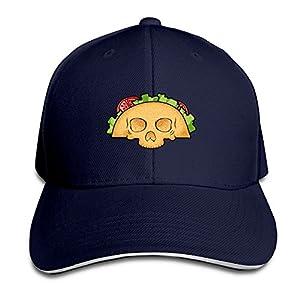 Nnklnksdd Taco Skull Black Baseball Cap, Adjustable Spire Trucker Cap.