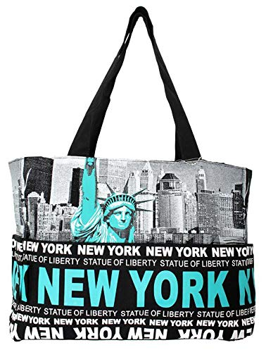 Robin Ruth NY Statue of Liberty Skyline Canvas Tote Shoulder Bag Black/Teal