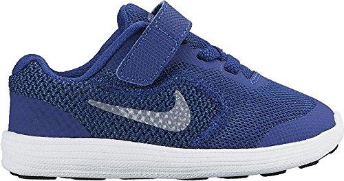 Nike Revolution 3 (TDV) - Zapatillas para niños, multicolor Azul / Gris / Negro / Blanco (Dp Ryl Bl / Mtlc Cl Gry-Blck-Wht)