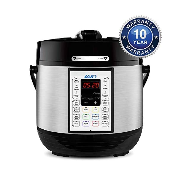 IAIQ 13-in-1 Electric Programmable 6 Quart One-Touch Pressure Cooker, Including Slow Cooker,Rice Cooker,Yogurt Maker… 1