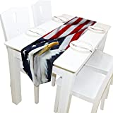 ALAZA Table Runner Home Decor, American Flag with Eagle Table Cloth Runner Coffee Mat for Wedding Party Banquet Decoration 13 x 70 inches