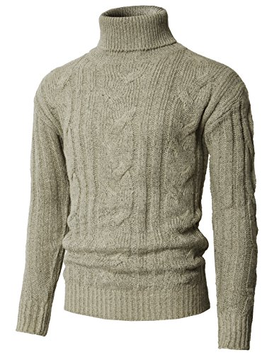 H2H Men's Basic Turtleneck Pullover Solid Sweater Beige US M/Asia L (KMOSWL0222) ()