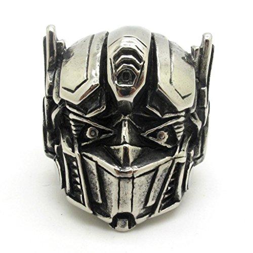 BoxDragon Jewelry Robot Superman Stainless Steel Large Men Ring, Biker Silver Black Gtohic