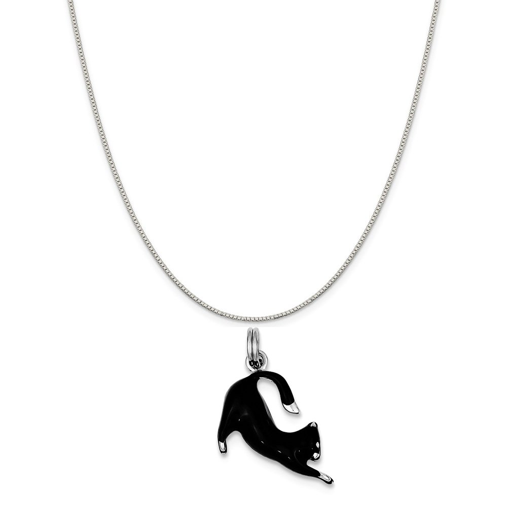 18 Mireval Sterling Silver Black Enamel Cat Charm on a Sterling Silver Carded Box Chain Necklace