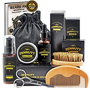 ZenNutt Ultimate Beard Care Kit for Men Beard Growth & Grooming Set w/Beard Balm Butter & Beard Oil & 100% Boar Beard Brush & Wood Beard Comb & Beard & Mustache Scissors,Best Gifts Set from ZenNutt