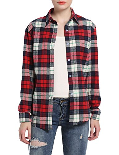 GUANYY Women's Long Sleeve Casual Loose Classic Plaid Button Down Shirt (Red, ()