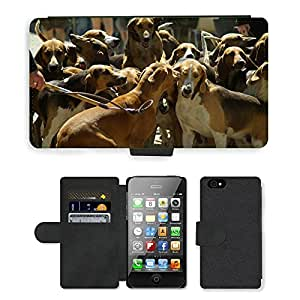 CARD POCKET BOOK CASE PU LEATHER CASE // M00103971 Caza Perros de Caza Paquete // Apple iPhone 4 4S 4G