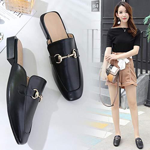 Pigro Piatto da Muller Black Sandali Donna Scarpe Pantofola Fondo Puntale Pantofole TZQ Mezza 658zqTnx