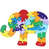 Meliya Colorful Chunky Wooden Animal Letters and Numbers Jigsaw Puzzles Preschool Learning Toys, Elephant