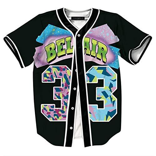 HOP FASHION Youth Mens Women Boys Girl Kids Baseball Jersey Short Sleeve Button Down Shirts 90s Theme Party 3D Number 33 Colorful Print Baseketball Dance Team Uniform Tees HOPM007-137-XXL